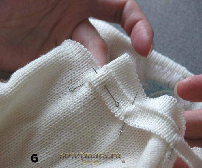 2-3 петельки подгибаем и закалываем булавками