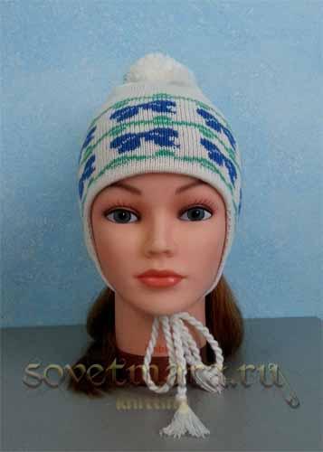 как связать детскую двойную шапку с ушками и орнаментом